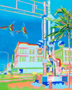 Hafenstadt mit Papageien