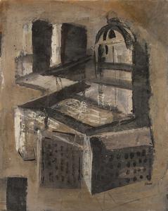 Composizione murale con case e cupola