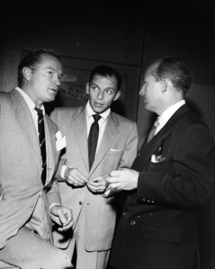 Bob Hope, Frank Sinatra and Bing Crosby enjoy a five minute break backstage at a Bob Hope NBC TV taping