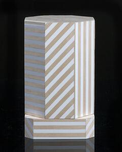 """Ziggurat"" single container, Natural Stripes"