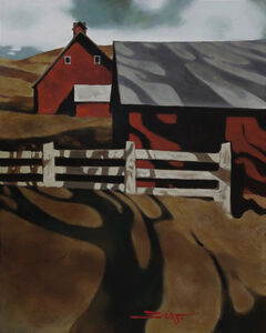 Red Barn in Shadow
