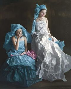Blue and White Paper Bride
