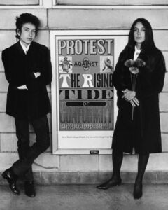 Bob Dylan & Joan Baez with Protest Sign, Newark Airport