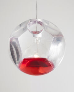 """Large """"Dodecahedron"""" Chandelier and Optical Instrument with One Red Lens"""