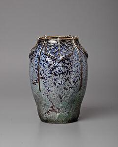 Silver Leaves Metal Mount Vase