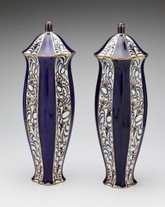 Serapis Blue Blossoms Vase Pair