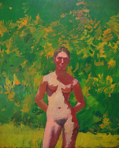 Red Nude with Green Background