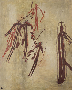 "A woman with digging stick and bag. A Kangaroo Woman with white triangle in front. A Group of the Hairy Ghosts called ""MORMO"" and a mythical monstrous serpent"