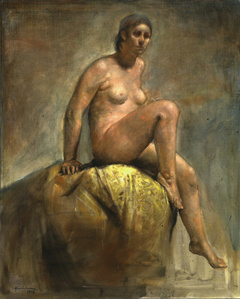 Seated nude on yellow tapestry