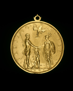 Louis XIII as Dauphin between Henri IV as Mars and Marie as Pallas [reverse]