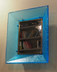 """Mirror with frame in turquoise """"corroso"""" glass"""