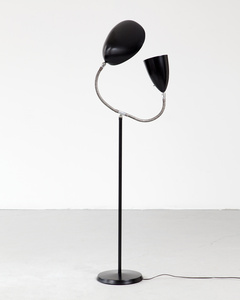 "Floor lamp with one ""Grasshopper"" shade and one ""Cobra"" shade"