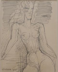 'Femme nue à mi-corps' Drawing, by Marcel Gromaire
