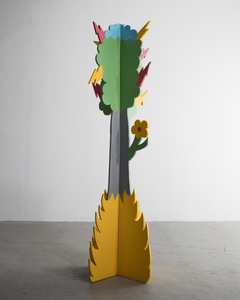 Plywood coat tree with a gray trunk and colored enamel-painted top. Designed and produced by Lapo Binazzi for Laboratorio Casa ANAS, Florence, Italy, 1975.