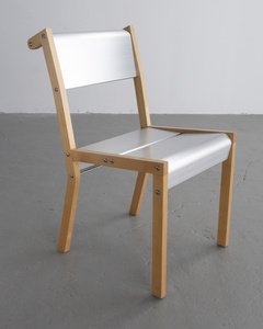 """Rasamny Chair v. 1"" prototype in anodized extruded aluminum and wood. Designed by Ali Tayar, 1999."