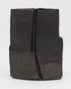Grand vase plat noir