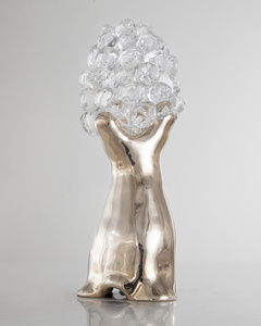 Small Baobab with a cast bronze base and handblown glass globe