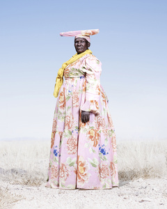 Herero Woman in Pink and Pattern Dress