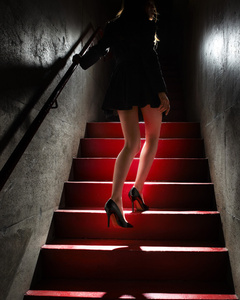 Girl on the Red Steps