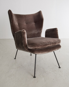 Upholstered Armchair with Iron Frame