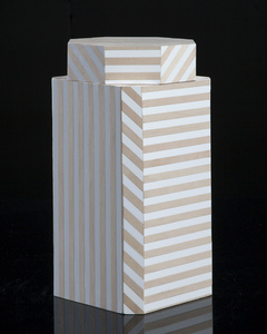 """Ziggurat"" single container, Natural Stripes"