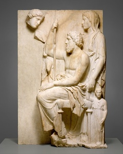 Marble grave stele with a family group