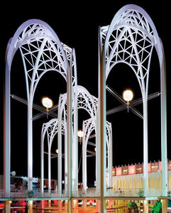 """Seattle 1962 World's Fair, """"Century 21 Exposition,"""" Science Center Arches at Night, View I"""