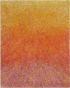 Abundance (Painted Universe Mandala SF #1F, Yellow to Lavender Sunset Gradient, Natural Ground)