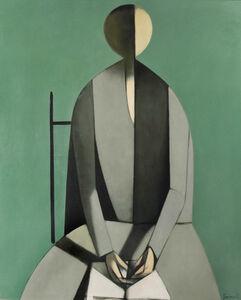 Seated Figure with Book, Green Background-Figura seduta, con libro, fondo verde
