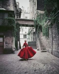 Courtyard Chanel Red Velvet Dinner Dress, Paris