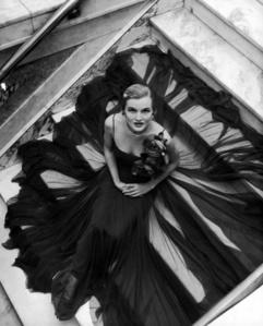 Model Wearing Full Chiffon Skirt by Traina-Norell