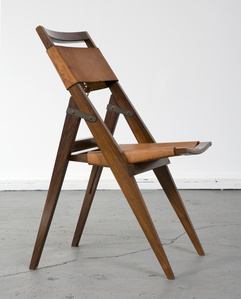 Folding chair with jacaranda frame and leather seat