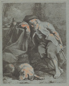 Sleeping Old Man with Dog