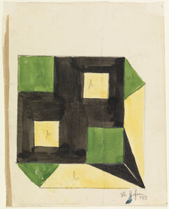 Design for a Box with Green and Yellow Squares on Black Ground