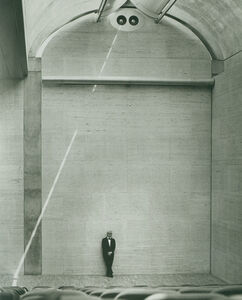 Louis Kahn in the auditorium of the Kimbell Art Museum
