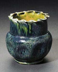 Green & Indigo Large Dimple Vase with Ruffled Rim