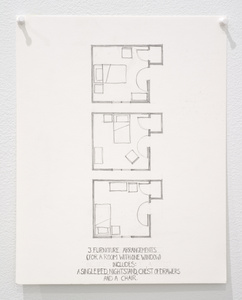 Untitled (3 furniture arrangements for a room with One window...)