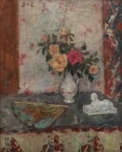 Vase de Roses, Eventail et Sphinx