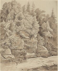 Wooded Cliffs along a Stream
