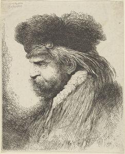 Man with a Moustache Wearing a Fur Headdress, Facing Left