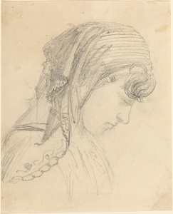 Head of a Woman in a Scarf, Looking Down