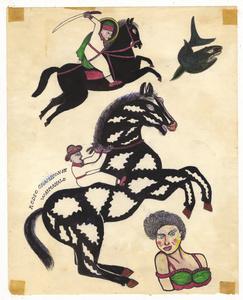 Untitled (Cowboy and Swordsman on Horseback)
