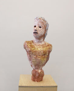 Portrait Bust with Amber Shirt and Faceted Base