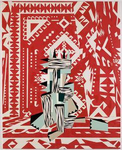 Sculpture in red interior