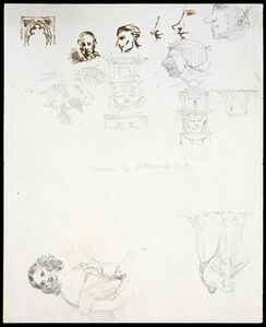Sketches of heads and figures