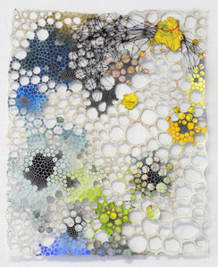 Scattered Reflection- Abstract Geometric Molecular Painting on Paper and Mixed Media