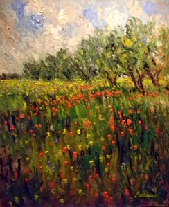 Field of Poppies and Olive Trees (Oliviers et Cocquelicots)
