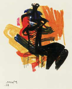 Black Seated Figure on Orange Ground