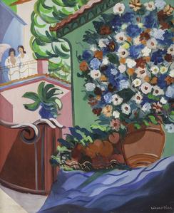 Vaso de Flores e Moças no Alpendre