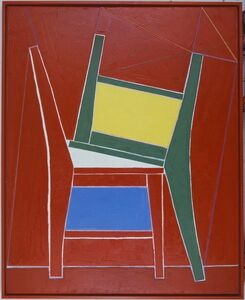 Two chairs in red background